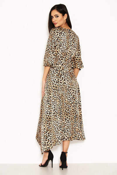 Animal Printed Midi Dress With Tie Waist