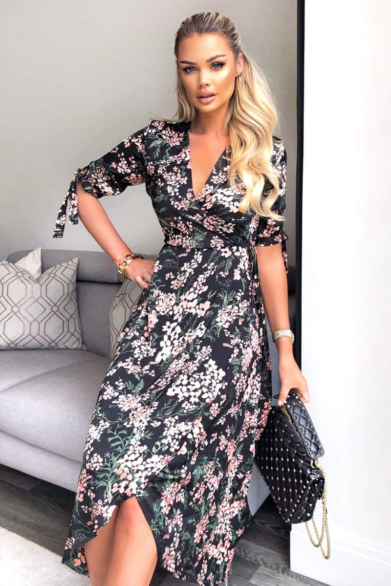 Black Floral Wrap Dress With Ties