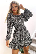 Black Floral Square Neck Swing Dress