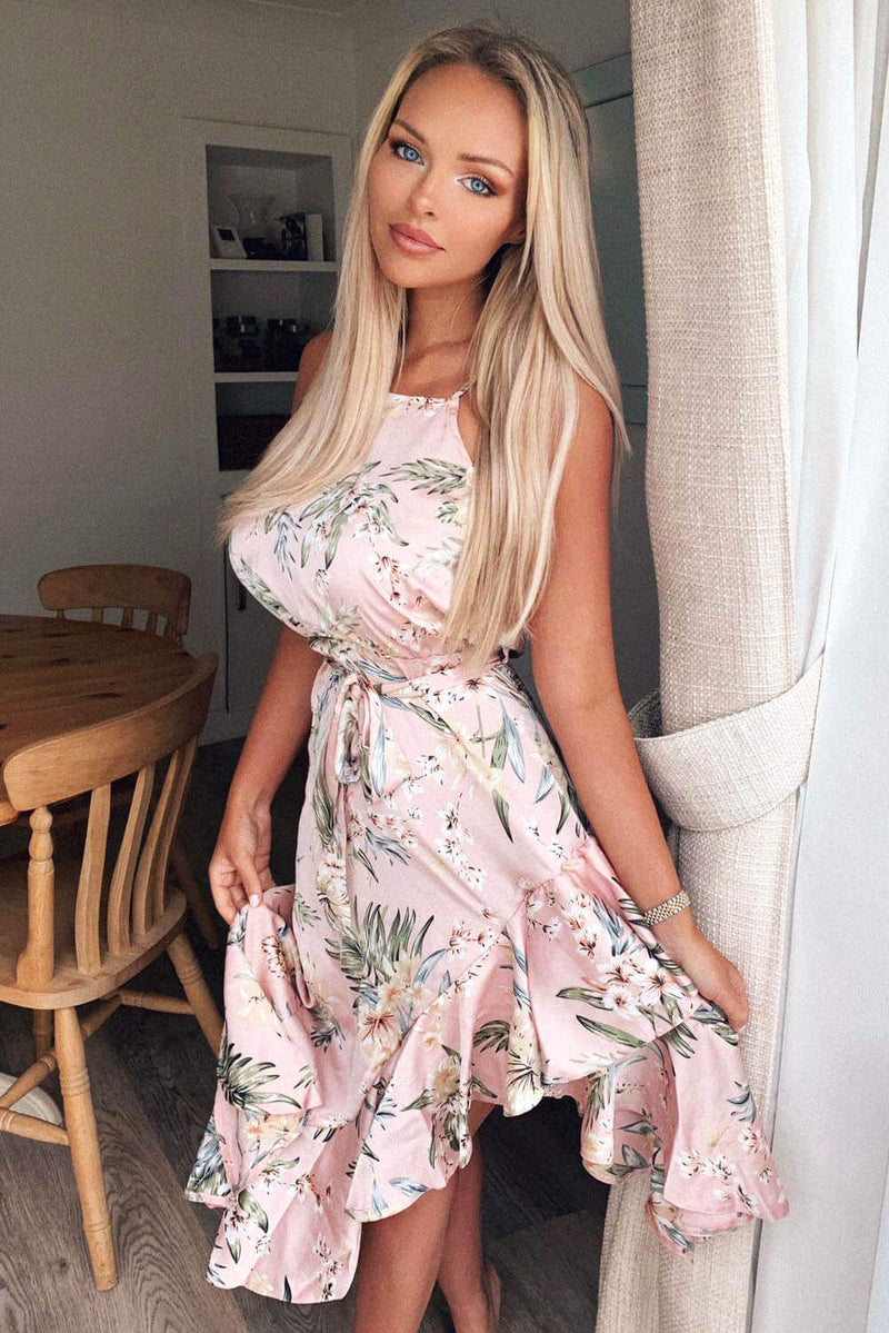 Pink Floral Frill Open Back Dress