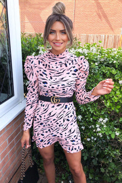 Pink Animal Print Puff sleeve Dress