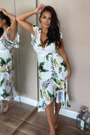 Cream Tropical Print Frill Wrap Dress With D Ring Belt