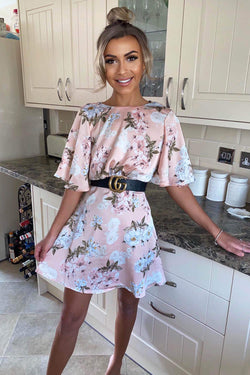 Pink Floral Print Flute Sleeve Dress