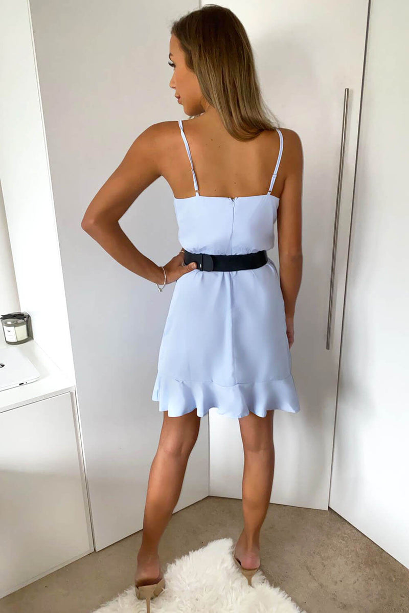 Blue Strappy Frill Hem Mini Dress