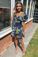 Navy Floral Tea Dress with Frills