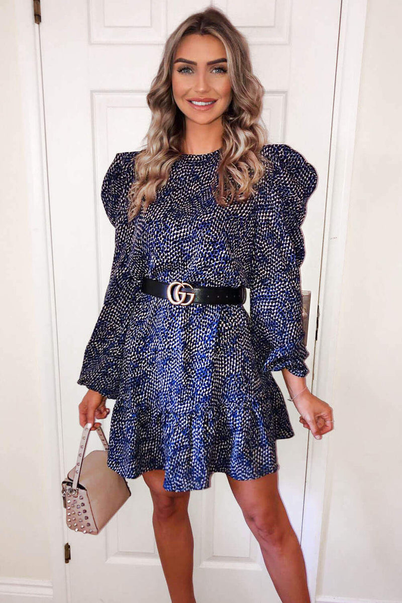 Blue Puff Sleeve Frill Printed Shift Dress