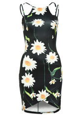 Multi Strap Printed Bodycon Mini Dress