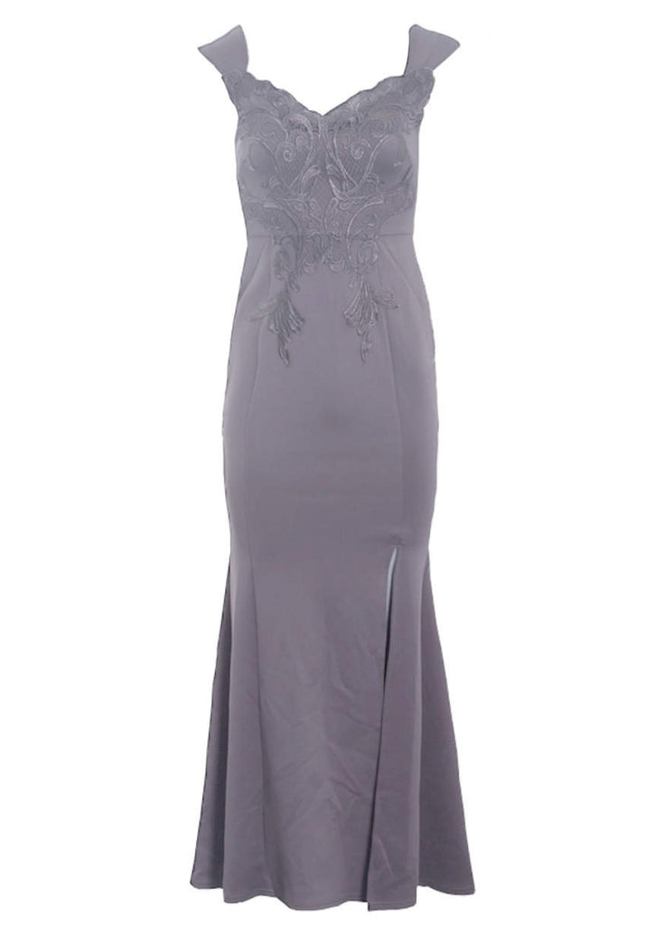 Dark Grey Lace Overlay Maxi Dress