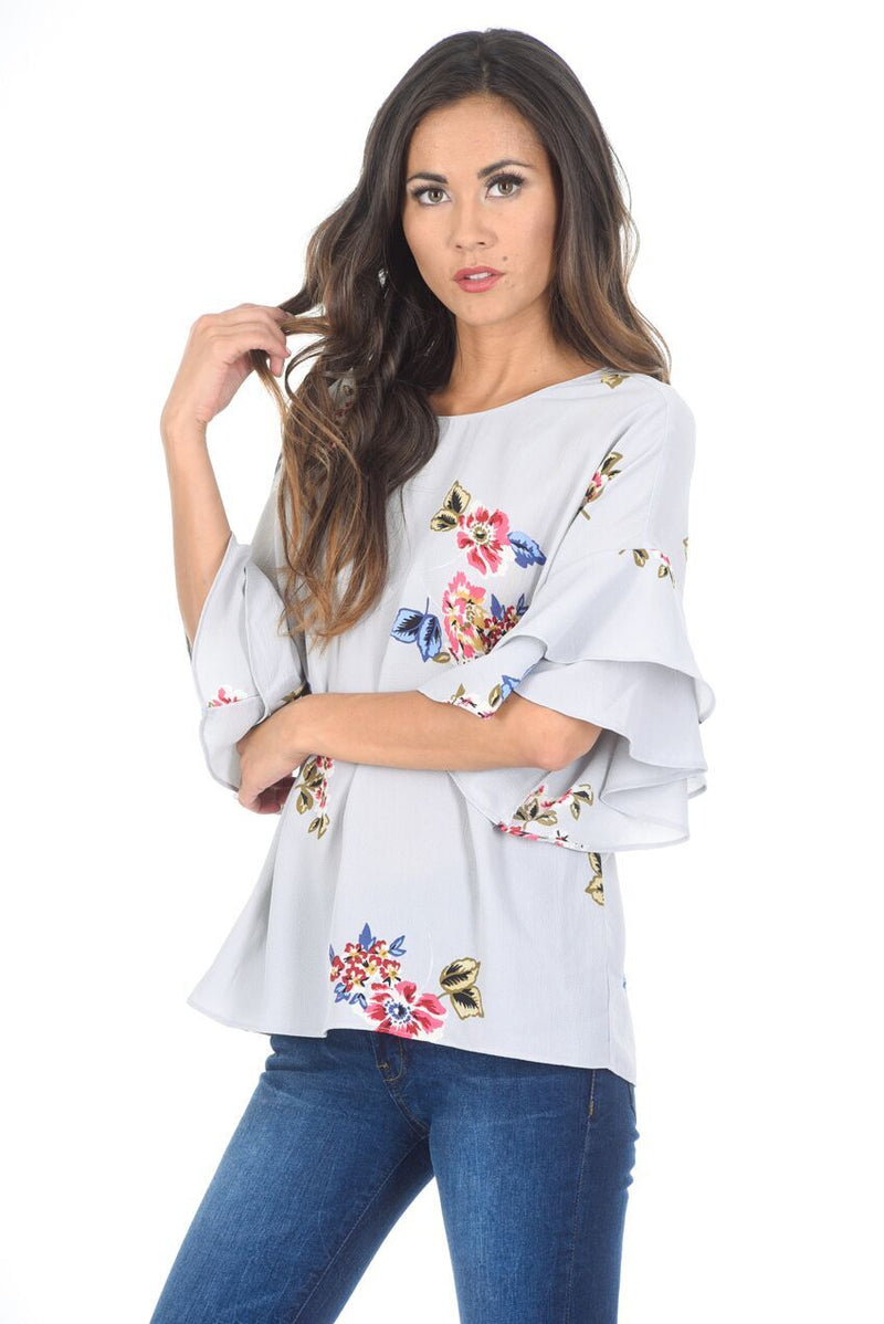 Grey Floral Frill Sleeve Top