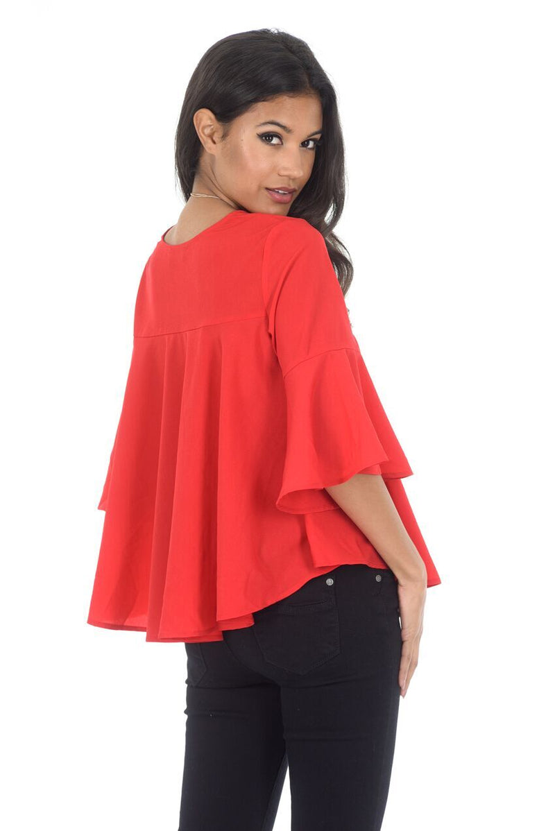 Red Frill Top