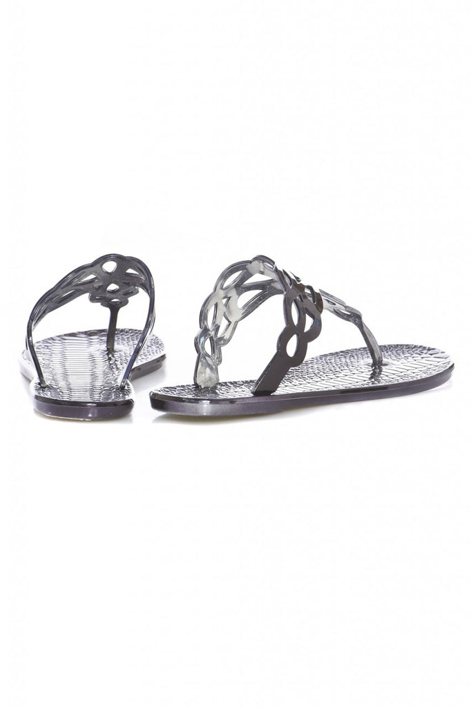 Metallic Cut Out Flip Flops