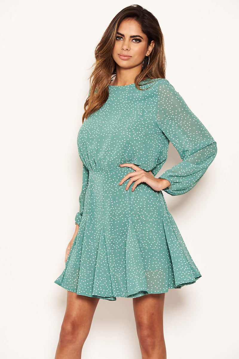 Duck Egg Polka Dot Long Sleeve Dress