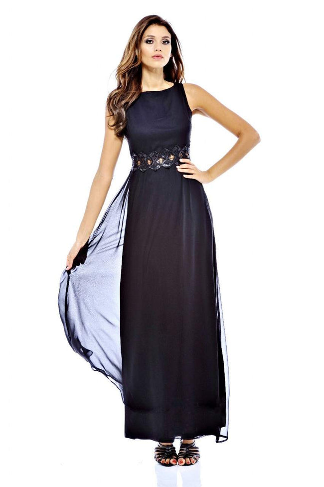 Embellished Waist Chiffon Maxi Dress