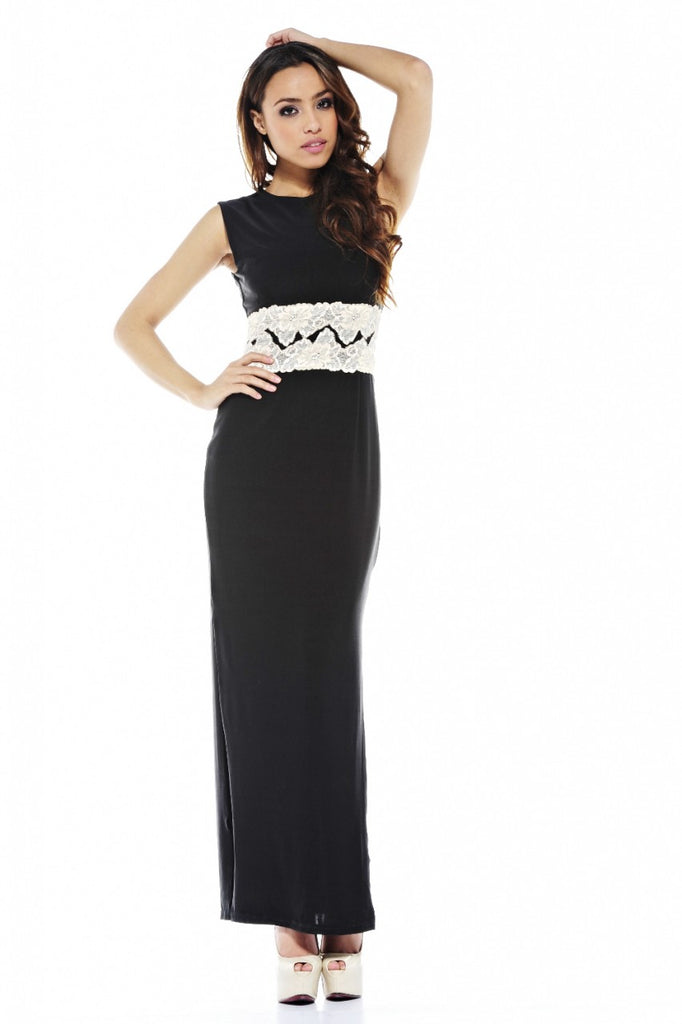 Contrast Lace Maxi Dress