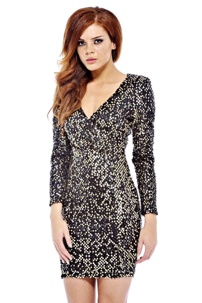V Front Bodycon Sequin Dress