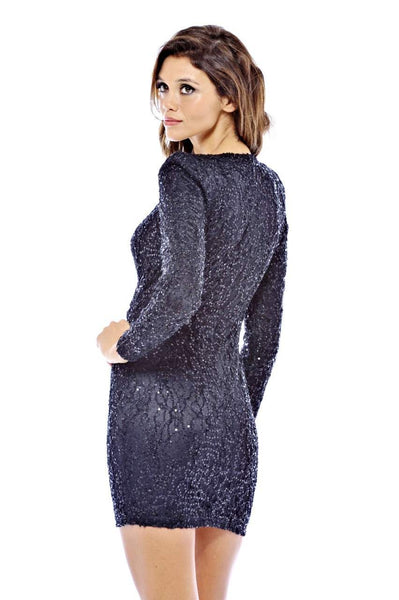 Long Textured Sequin Sleeve V Front Dress