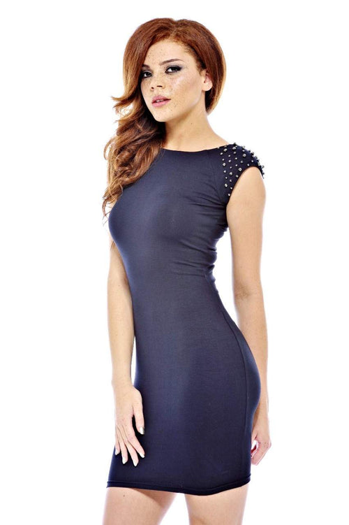 Beaded Shoulder Bodycon Dress