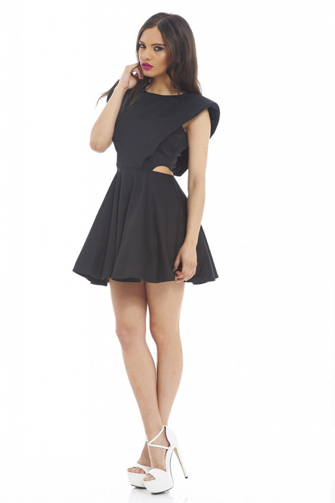 Scuba Cut Out Side Kick Out  Skater Dress