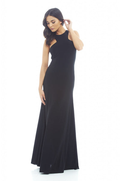 Cut In Neck Slinky Maxi Dress