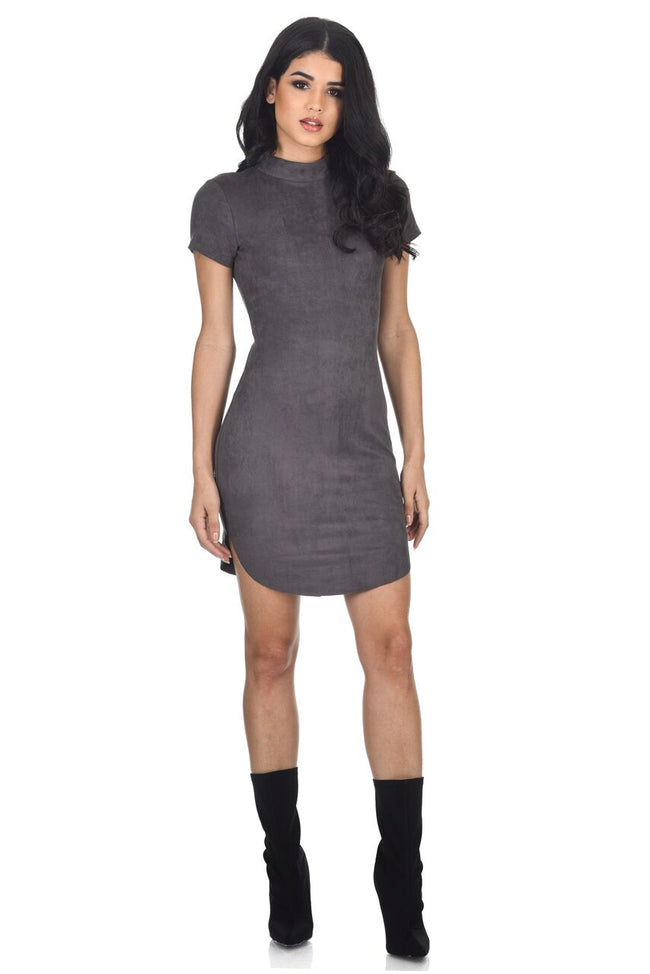 Dark Grey Faux Suede Mini Dress With High Neck
