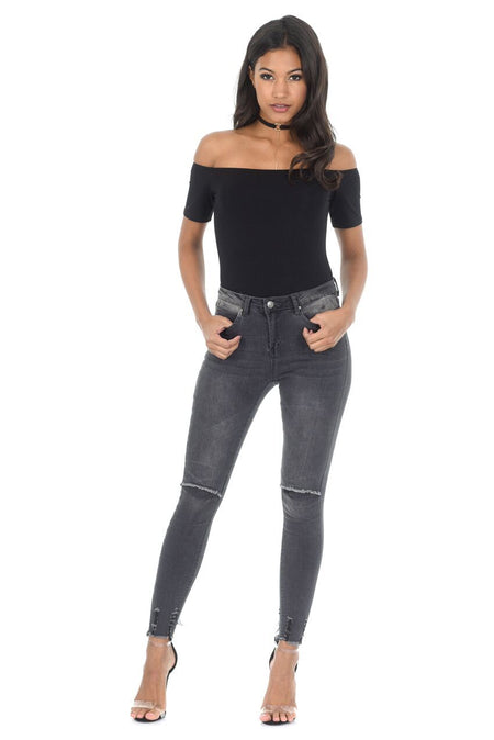 Black Coated Leather Look Jeans