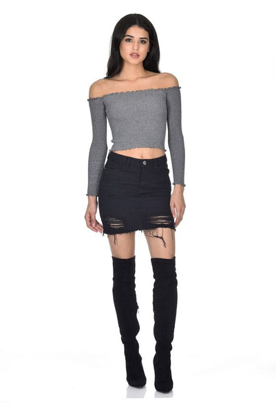 Black Denim Ripped Mini Skirt