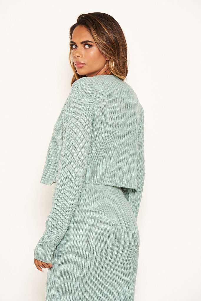 Duck Egg Cropped Knitted Jumper