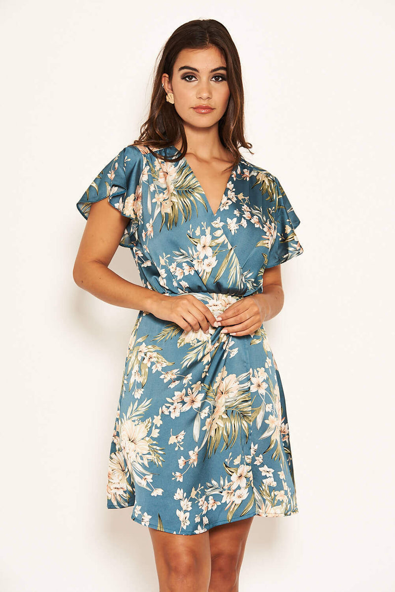 Duck Egg Floral Pleated Wrap Dress