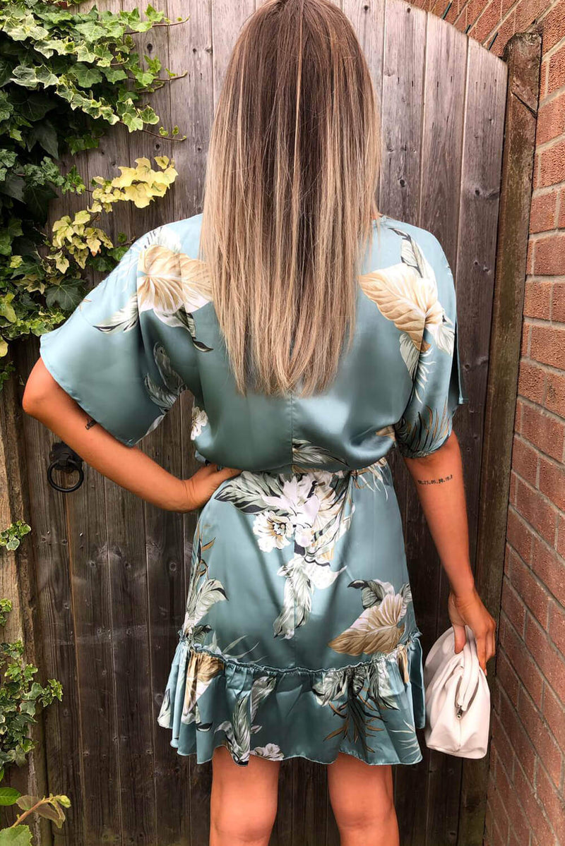 Duck Egg Floral Print Tie Waist Frill Dress