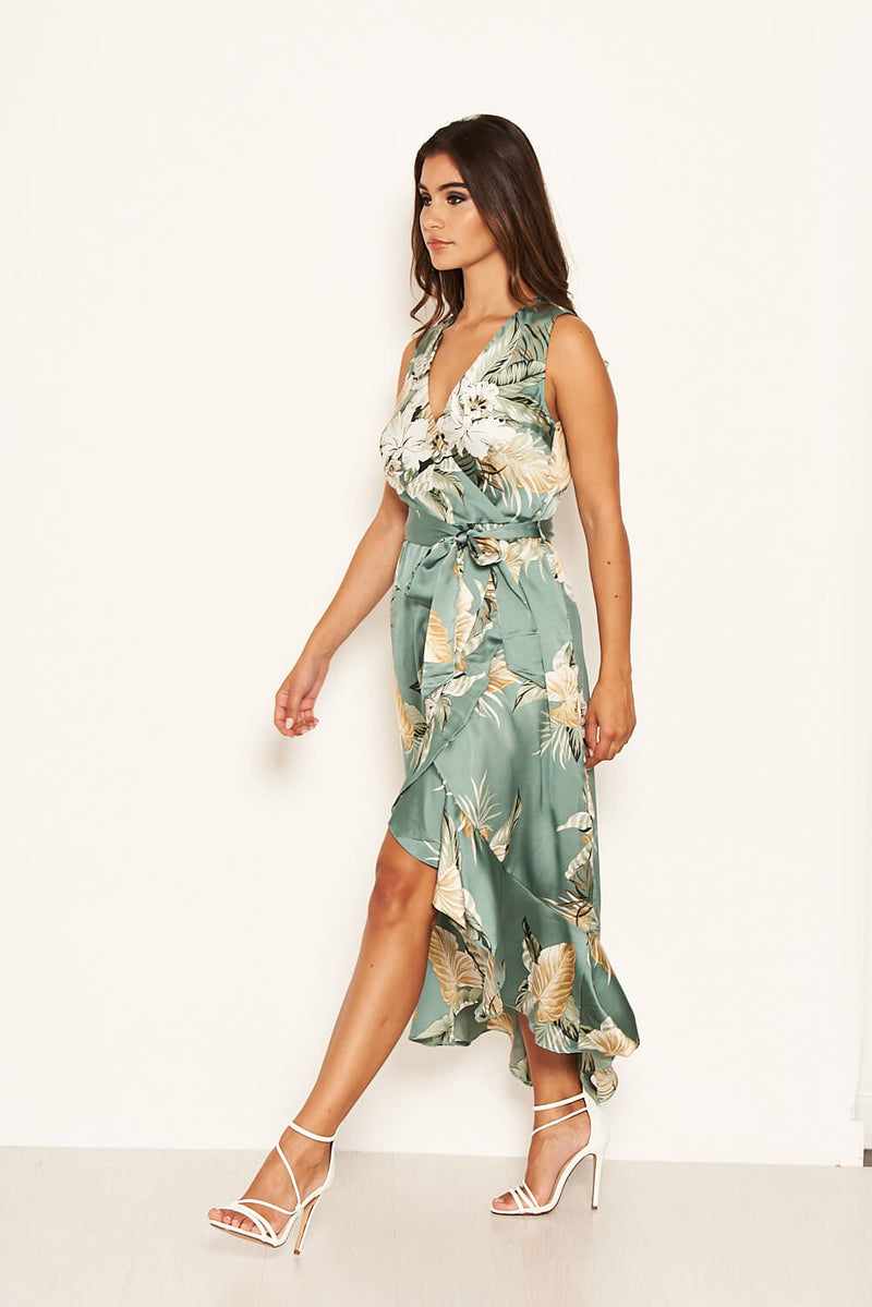 Duck Egg Floral Satin Wrap Frill Dress