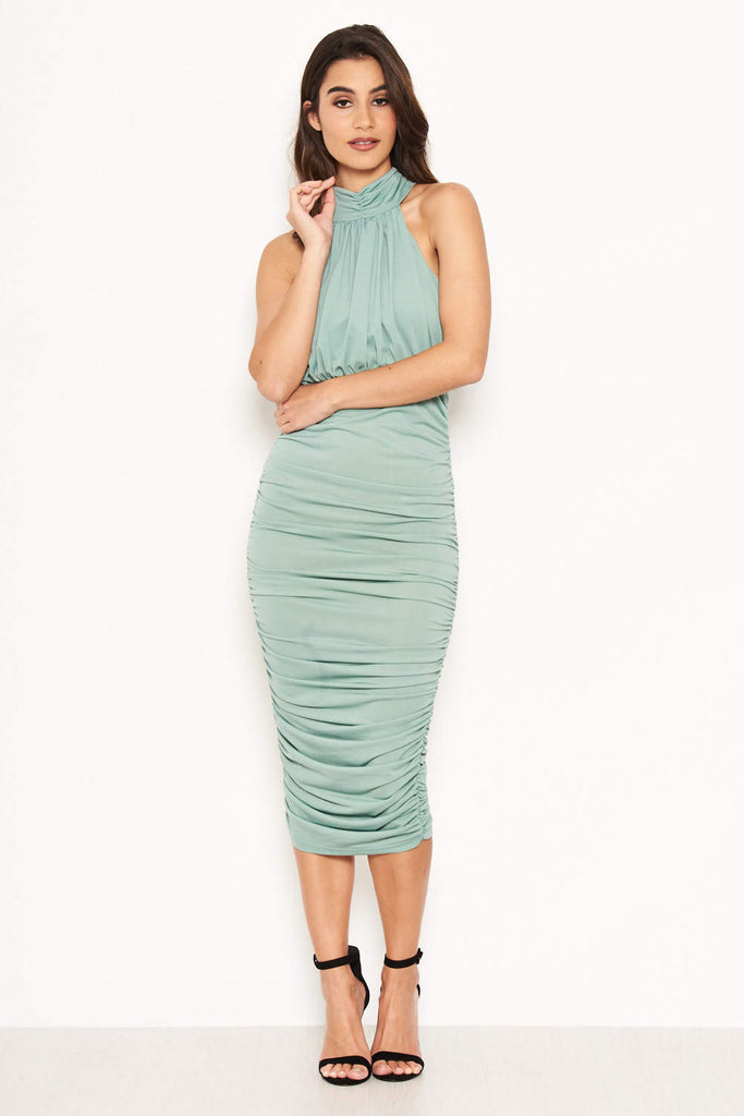 Duck Egg High Neck Ruched Dress