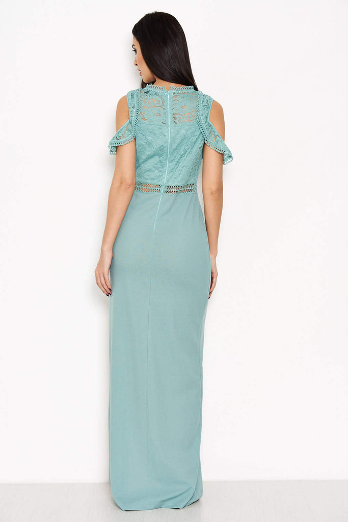 Duck Egg Lace Top Maxi Dress