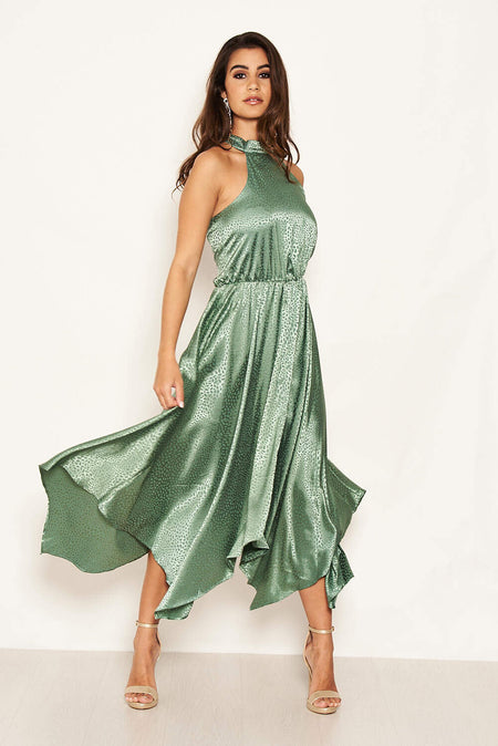 Teal Slinky Halterneck Dress