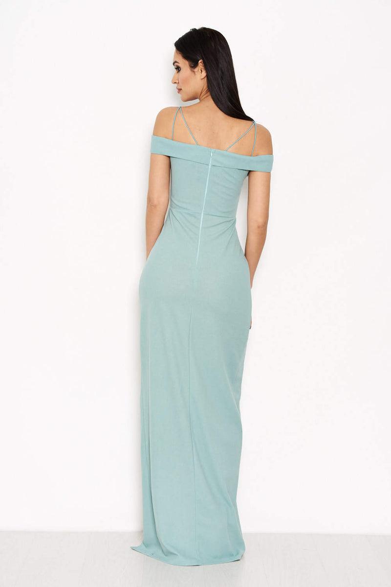 Duck Egg Strappy Off The Shoulder Side Split Maxi Dress