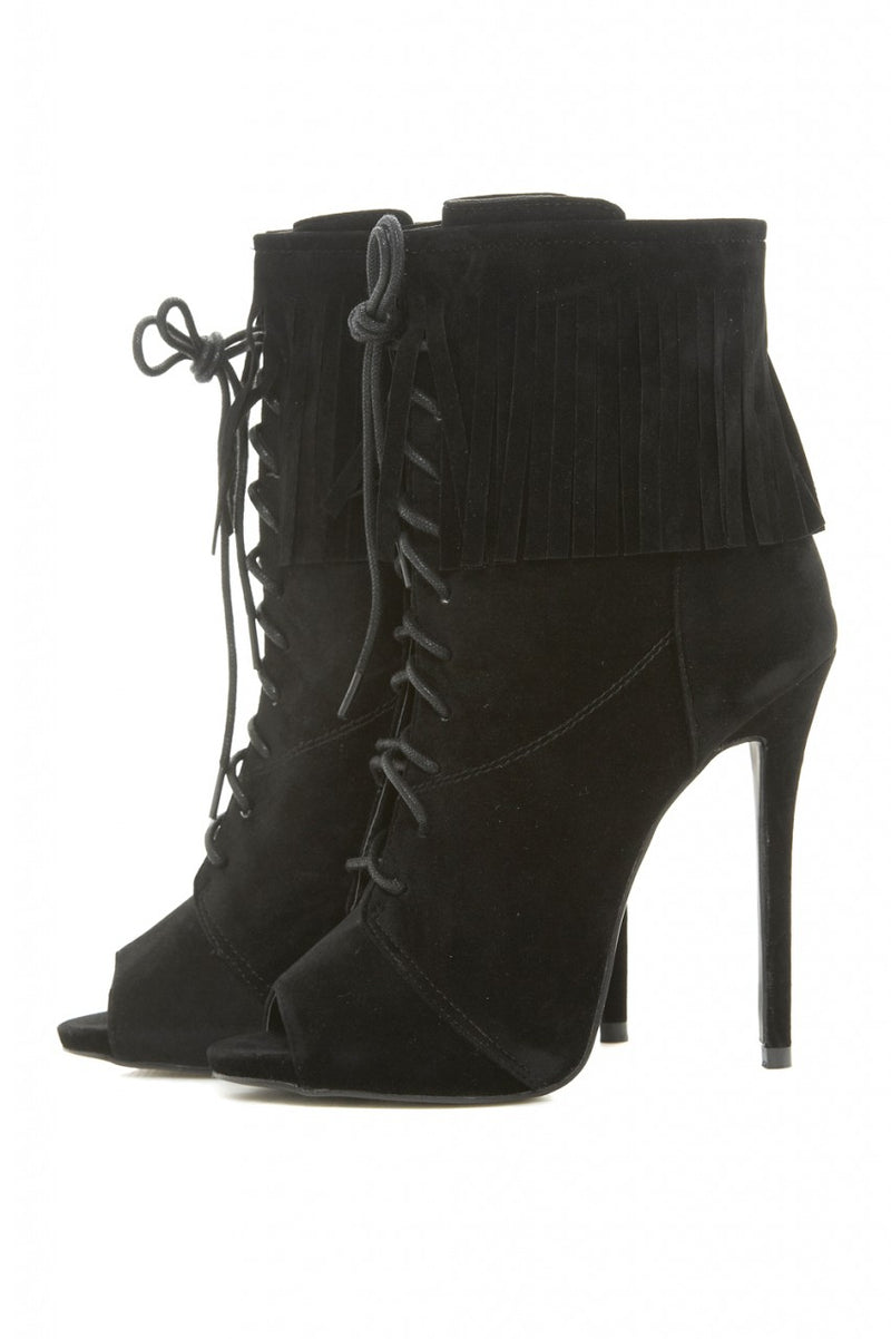 Peep Toe Tasseled Lace Up Boots