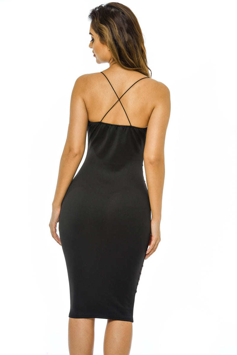 Black Strappy Embroidered Bodycon Dress