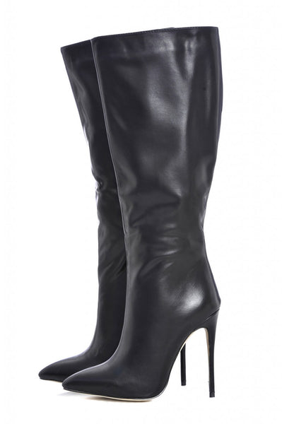 Long Plain Pointy Heeled Boot