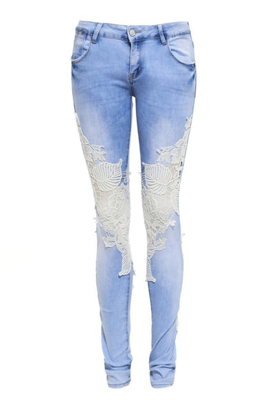 Knee Crochet Denim Jeans