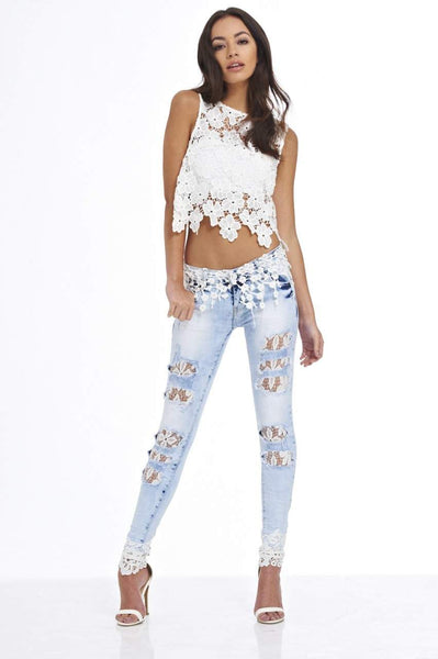 Crochet Denim Jeans