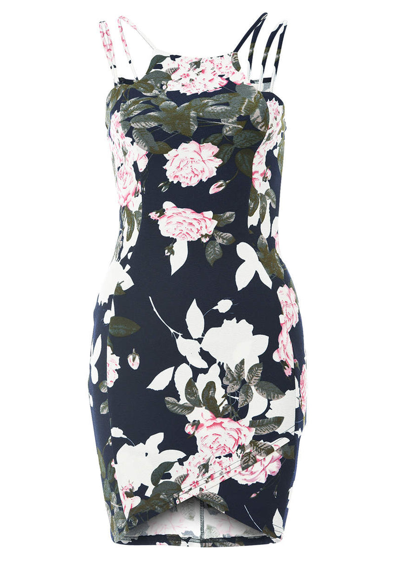 Double Strap Navy Printed Floral Mini Dress