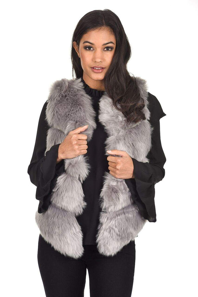 Grey Short Faux Fur Gilet