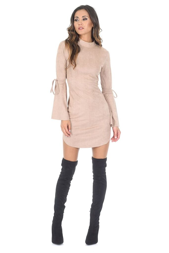 Stone Faux Suede Flare Sleeve Dress