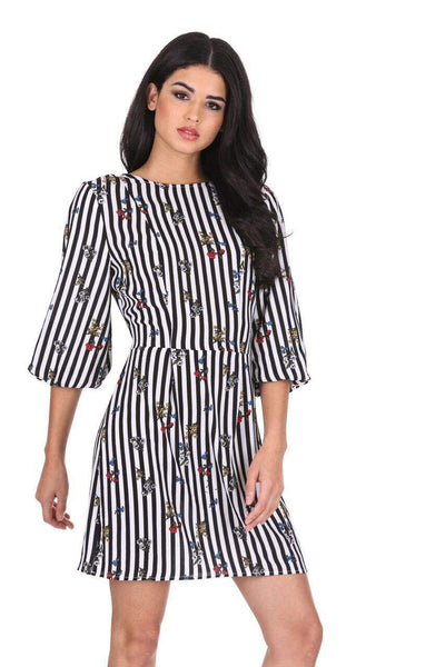 Floral Pinstripe Bell Sleeve Skater Dress