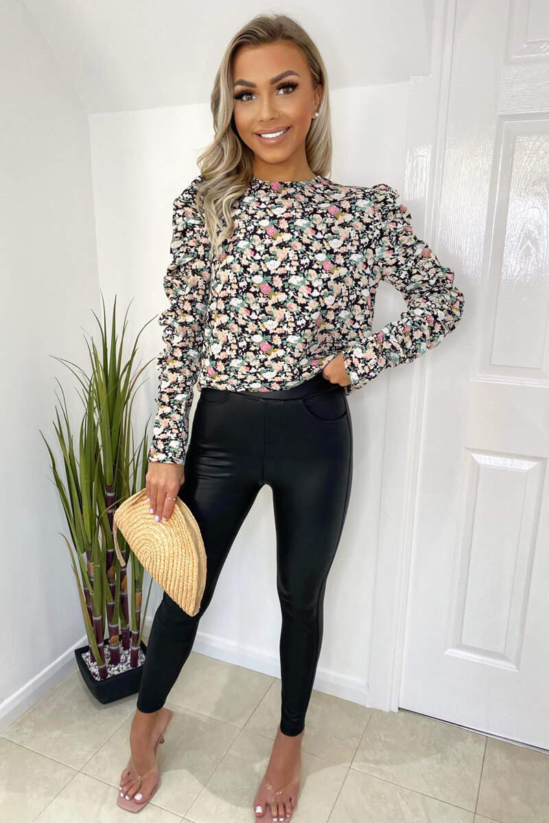 Floral Print Ruched Long Sleeve Top