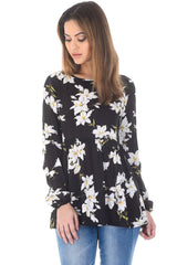 Black Floral Printed Frill Top with Frill Bottom