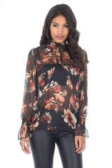 Floral Frill Black High Neck Top