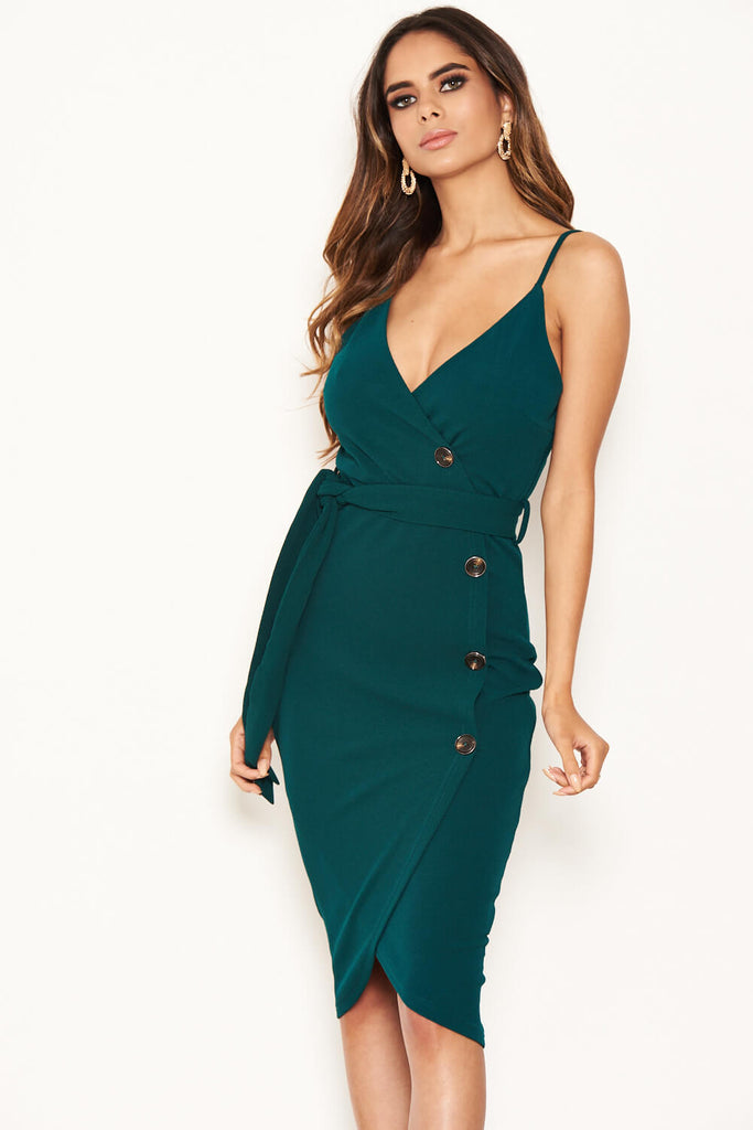 Forest Green Button Front Detail Bodycon Midi Dress