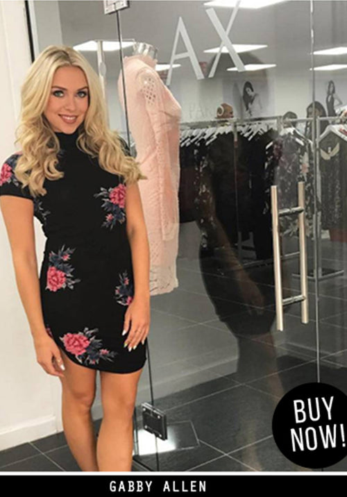 Black High Neck Floral Mini Dress