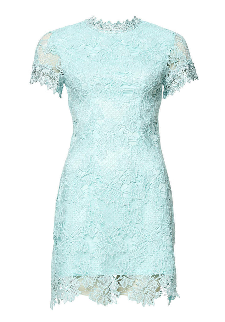Green High Neck Lace Dress