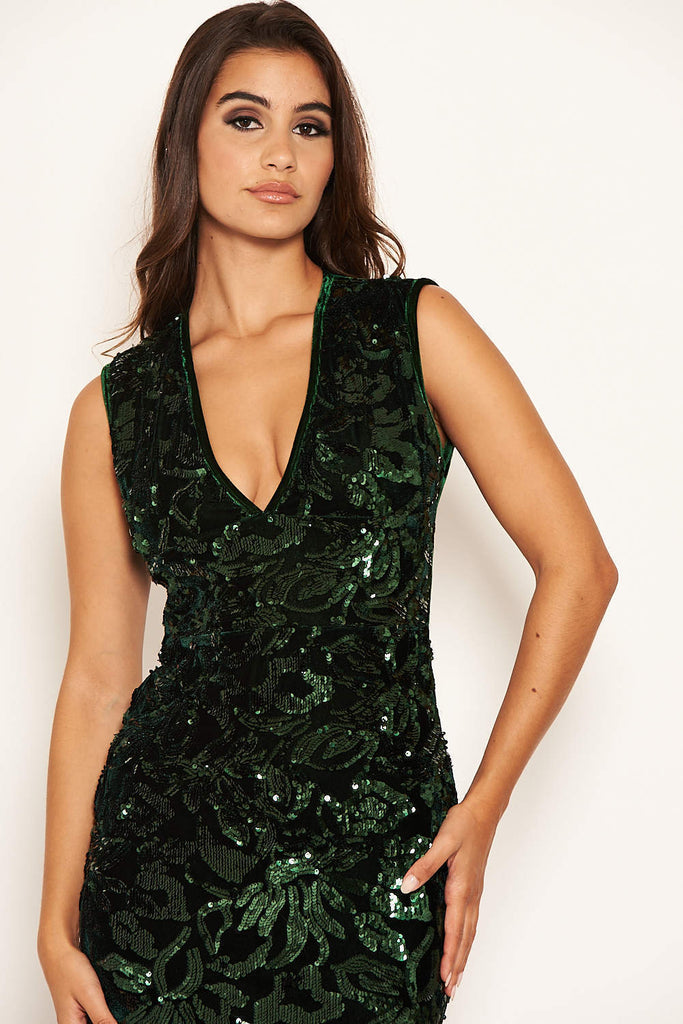 Green Sequin Velvet Bodycon Midi Dress